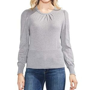 Vince Camuto Sweater Large Gray Ruched Sleeves